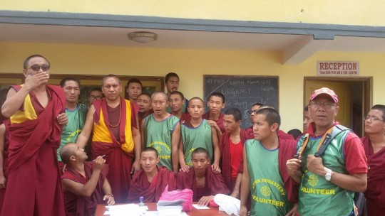 Kopan emergency relief volunteers, Kopan Monastery, Nepal, April 29, 2015. Photo by Tara Melwani.