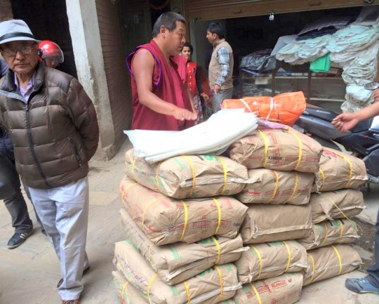 Sangey Sherpa, Lama Zopa Rinpoche's brother and director of Lawudo Gompa and Retreat Centre) supplies that are being flown up to Thame, which is near Lawudo in the Solu Khumbo district, Kathamandu, Nepal, April 29, 2015