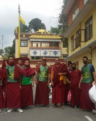 Emergency relief volunteers, some will be traveling to Thame with food and shelter for families there, Kopan Monastery, April 29, 2015. Photo by Tara Melwani.