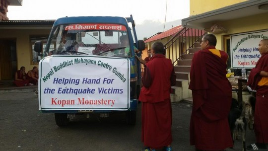 Day 5: Kopan Monastery help provide relief for earthquak victims, Kopan, Nepal, April 2015. Photo via Facbook, Kopan Monastery School.