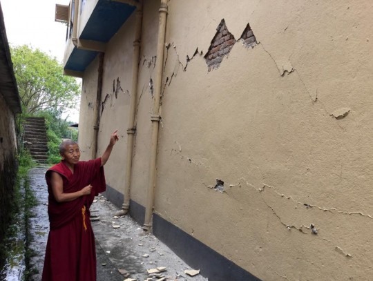 Some of the damage at Kopan Nunnery, Nepal, April 30, 2015. Photo by Ven. Sarah Thresher.