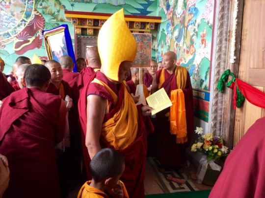 Lama Zopa Rinpoche blessing and open new gompa at Khachoe Ghakyil Nunnery, Nepal, April 30, 2015. Photo by Ven. Sarah Thresher.