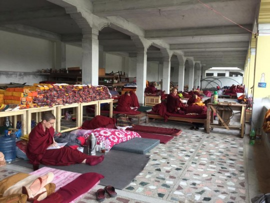 Nuns staying in an open basement of a building being constructed at Kopan Nunnery, Nepal, April 30, 2015. Photo by Ven. Sarah Thresher.