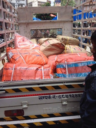 Some of the supplies Charok Lama is coordinating for relief efforts in Solu Khumu, Nepal
