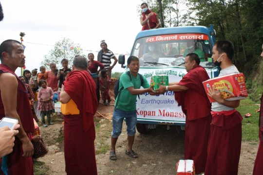 Kopan monks delivering supplies to families in need in the Kathmandu area, Nepal, 30 April 2015. Photo courtesy Kopan Apso on Facebook.
