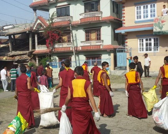 Kopan monks involved in efforts to clean up areas to prevent the spread of disease after the eathquake, Kathmandu, Nepal, May 1, 2015