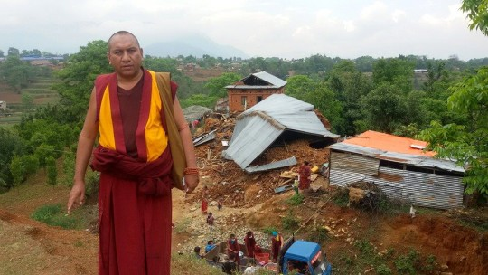 Ven. Nawang Thinley and other Kopan monks offering emergency relief, Nepal, April 30, 2015. Photo courtesy Nawang Thinley on Facebook.