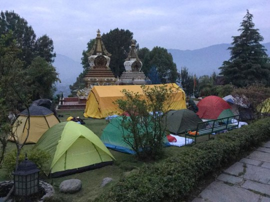 Tents set up after the earthquake, Kopan Monastery, Nepal, April 2015. Photo by Ven. Sarah Thresher.