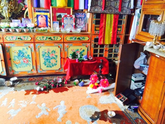 Spilled waterbowls in Lama Zopa Rinpoche's room, Kopan Monastery, Nepal, April 25, 2015. Photo by Ven. Sangpo Sherpa.