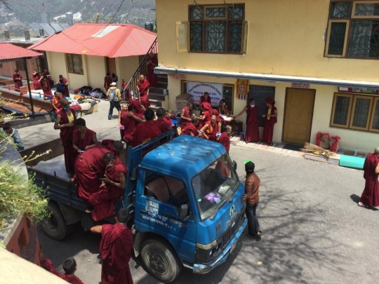 Kopan Monastery monks preparing for more emergency relief work,Nepal, May 1, 2015