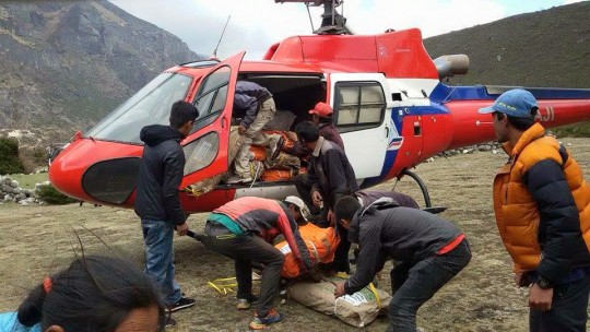 Emergency relief supplies arriving in Thame, Solu Khumbu district, Nepal. May 1, 2015