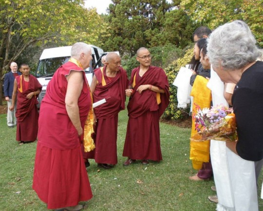 Lama Zopa Rinpoche arriving at Mahamudra Centre in Colville, New Zealand, May 5, 2015. Photo courtesy of Mahamudra Centre for Universal Unity on Facebook.