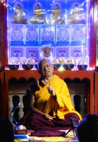 Lama Zopa Rinpoche teaching at Root Institute, March 2015. Photo by Andy Melnic.