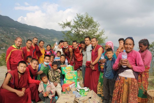 Basic need supplies are offered to the worst hit areas by Kopan monks and nuns.