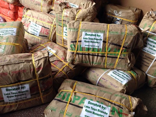 Each package contains rice, dahl, sugar, milk powder, oil, tea, tsampa, and flour. US$$45,595 has been spent on these packages so far.