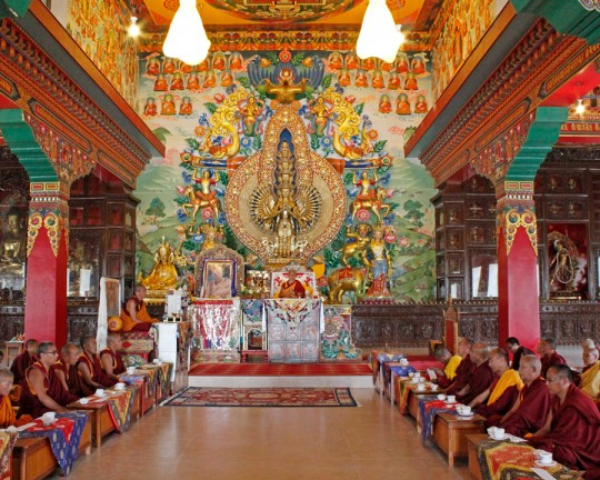 Lama Zopa Rinpoche opening the new gompa at Khachoe Ghakyil Nunnery, the Kopan nunnery, after the earthquake, April 30, 2015. Photo by Ven. Lobsang Sherab.