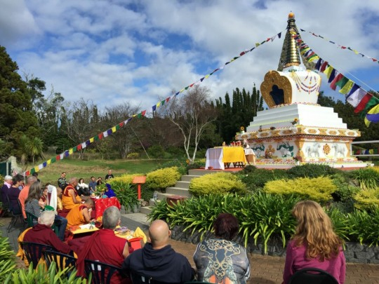 Lama Zopa Rinpoche consecrating stupa at Mahamudra Centre, New Zealand, May 2015. Photo by Ven. Thubten Kunsang.
