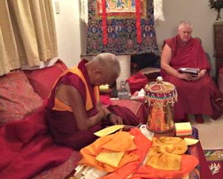 Lama Zopa Rinpoche doing prayers at Mahamudra Centre, New Zealand, May 2015. Photo by Ven. Roger Kunsang.