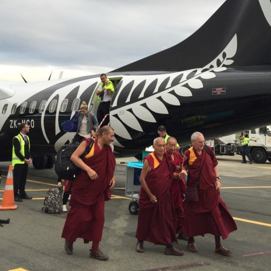 Lama Zopa Rinpoche after landing at Nelson on the South Island of New Zealand, May 2015. Photo by Ven. Thubten Kunsang.
