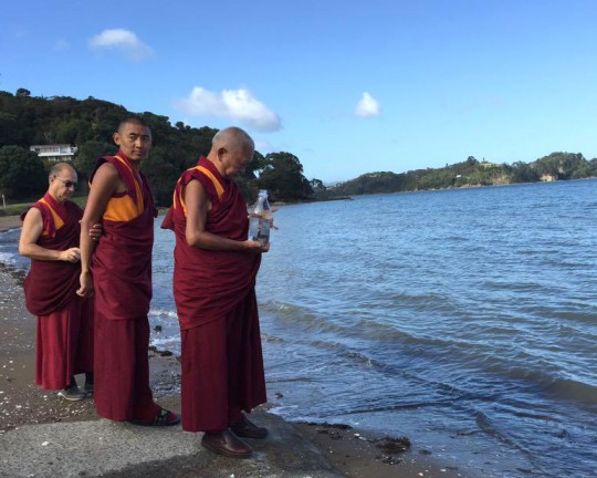 Lama Zopa Rinpoche blessing the sentient beings and ocean on the way to the airport from Mahamudra Centre, New Zealand, May 2015.