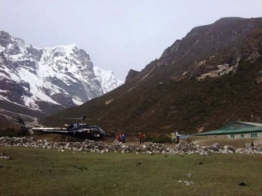 21 helicopters were required to bring food packages to 198 families in Solu Khumbu region of Nepal. Photo by Charok Lama.