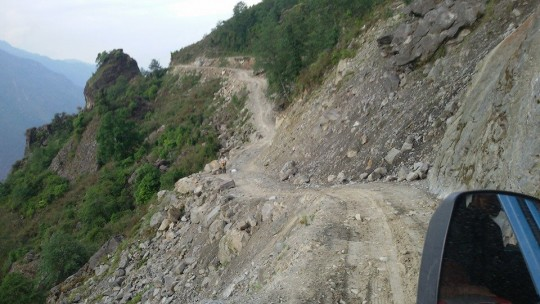 A road in the Rasuwa District, Nepal, May 2015