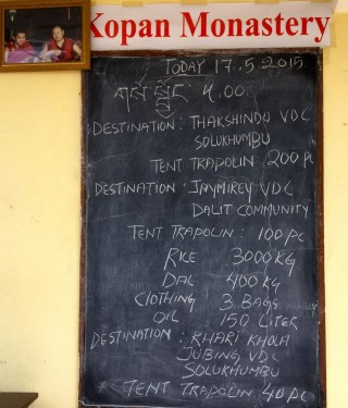 List of aid for May 17, Kopan Monastery, Nepal, May 2015