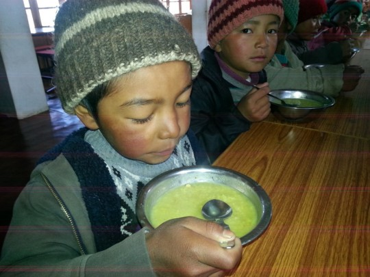 Young students of Ngari Institute are offered three meals a day through a food offering made by the Social Services Fund.