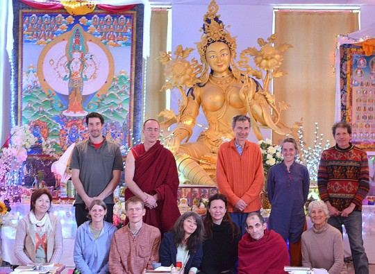 Participants in Institut Vajra Yogini's fourth round of 108 nyung näs, Marzens, France, March 2015. Photo courtesy of Institute Vajra Yogini.