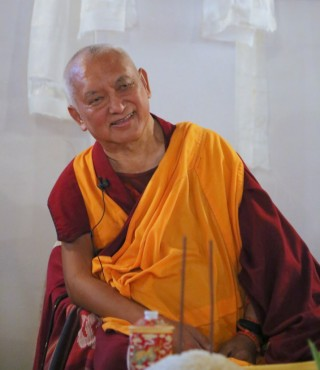 Lama Zopa Rinpoche, MAITRI Charitable Project, Bodhgaya, India, February 2015. Photo by Ven. Thubten Kunsang.