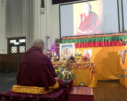 Lama Zop Rinpoche doing preparation for Medicine Buddha Jenang, Buddha House, Australia, May 2015. Photo by Ven.Thubten Kunsang.