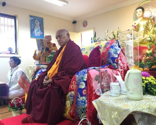 Lama Zopa Rinpoche teaching at a Minh Dang Quang Temple, a Vietnamese temple in Sydney Western suburbs of Sydney, Australia, June 2015. Photo by Ven. Roger Kunsang.
