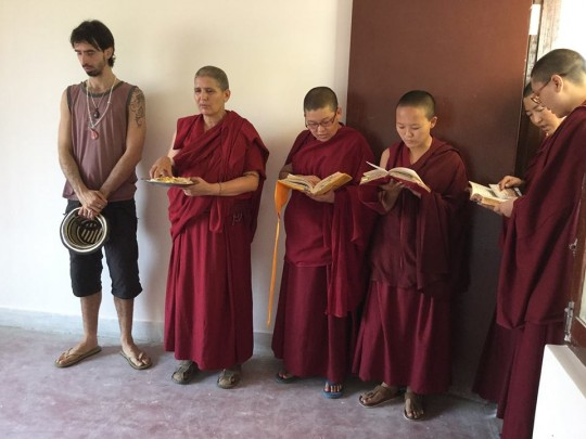 "Osel visiting Tara Nunnery, Kathmandu, Nepal, April 21, where he said, in a talk, ""I don't want to create followers. I want to create leaders."""