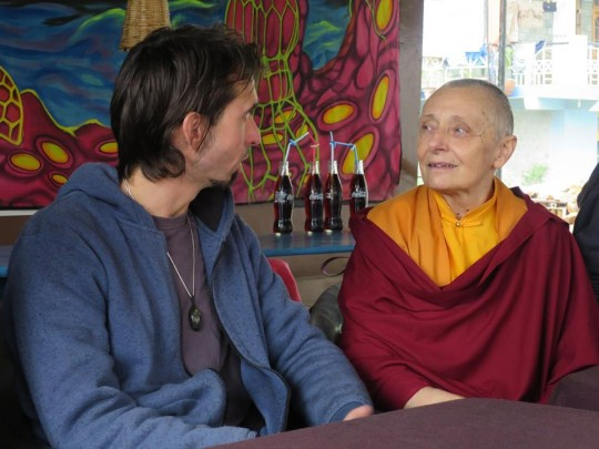 Osel and the pilgrimage visited Tushita Meditation Centre, in Dharamsala, India, April 14. During this time Jetsnuma Tenzin Palmo was teaching at the center and was happy to spend some time with Osel.