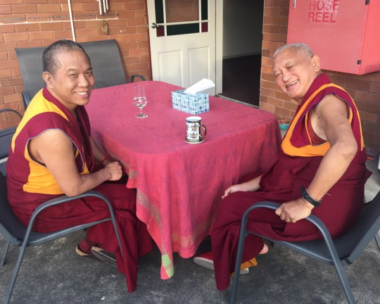 Lama Zopa Rinpoche with Geshe Samten, the resident teacher at Vajrayana Institute, Sydney, Australia, June 2015. Photo by Ven. Thubten Kunsang.
