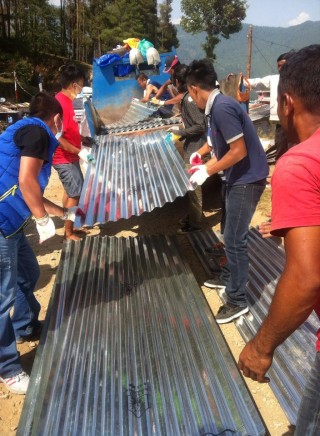 500 zinc sheets (for metal roofing) have been offered to families with no shelter. Photo courtesty of Namgyal Rinpoche Foundation Facebook page.