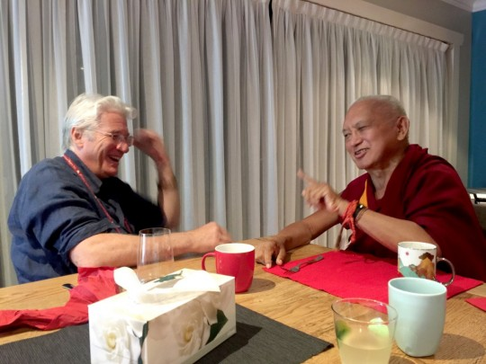 Lama Zopa Rinpoche chatting with Richard Gere, during His Holiness the Dalai Lama's visit to the Blue Mountains, Australia, June 2015. Photo by Ven. Roger Kunsang.