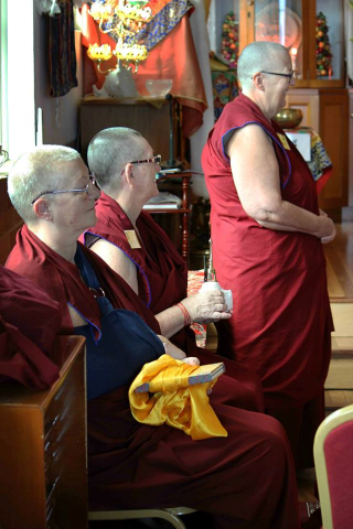 Nuns offered to bless attendees with a Buddha relic and holy text, Brisbane, Australia, March 2015. Photo courtesy of Langri Tangpa Centre.