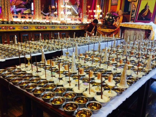 Extensive offerings carefully arranged for the pujas offered for Lama Zopa Rinpoche's long life.