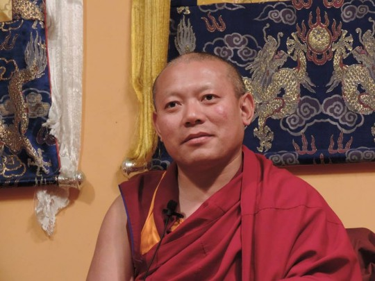 Geshe Ngwang Tenley teaching at Shantideva Meditation Center, New York. Photo courtesty of SMC's Facebook page.