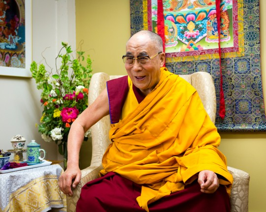 His Holiness the Dalai Lama during a visit to FPMT International Office, May 2013. Photo by Leah Nash.