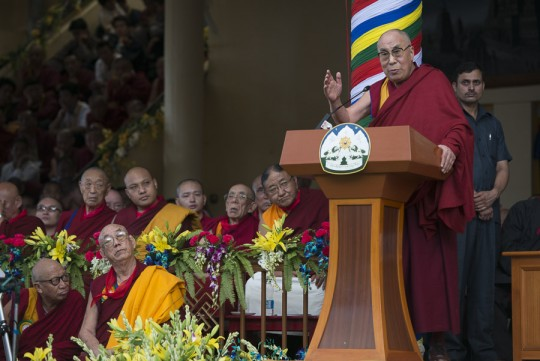 His Holiness the Dalai Lama speaking during celebrations honoring his 80th birthday at the Main Tibetan Temple in Dharamsala, HP, India on June 21, 2015. Photo/Tenzin Choejor/OHHDL via dalailama.com.