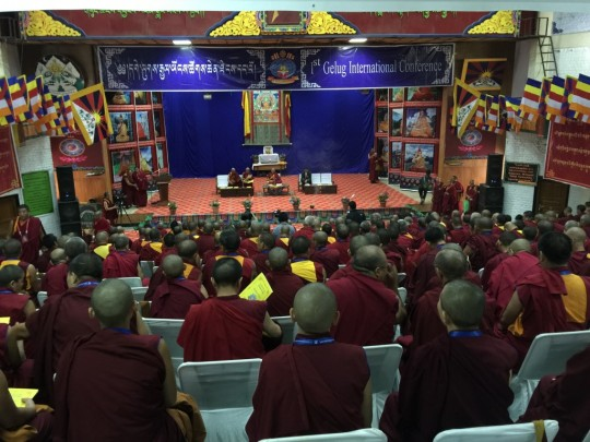 Beginning of the Gelug international Conference in Dharamsala. Ganden Tri Rinpoche in the center, Ganden Jangtse Choje Rinpoche and Ganden Shartse Rinpoche. The Tibetan Prime Minister Lobsang Sangye on the right, Dharamsala, India, June 2015. Photo by Ven. Roger Kunsang.