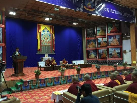 Tibetan prime minister Lobsang Sangye addressing the Gelug conference, Dharamsala, India, June 2015. Photo by Ven. Roger Kunsang.