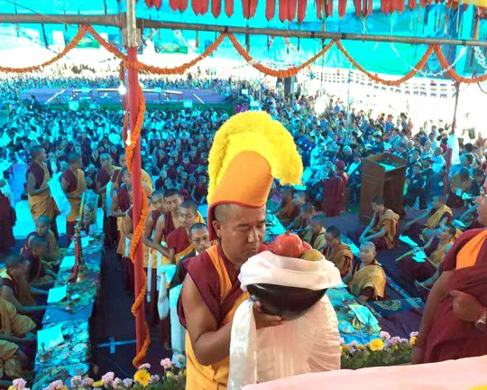 Losang Namgyal Rinpoche during offerings for His Holiness the Dalai Lama's 80th birthday celebration in Kathmandu, Nepal, July 2015. Photo courtesy of Kopan Monastery.