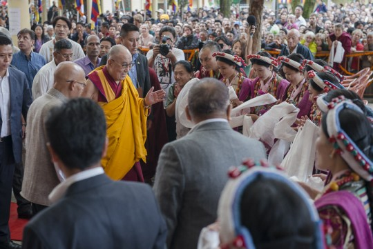 His Holiness the Dalai Lama arriving at the Main Tibetan Temple at the start of ceremonies honoring his 80th Birthday in Dharamsala, HP, India on June 21, 2015. Photo/Tenzin Choejor/OHHD