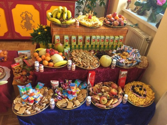 Offerings at Panchen Losang Chogyen for His Holiness' 80th birthday, Vienna, Austria, July 2015. Photo courtesy of PLC on Facebook.