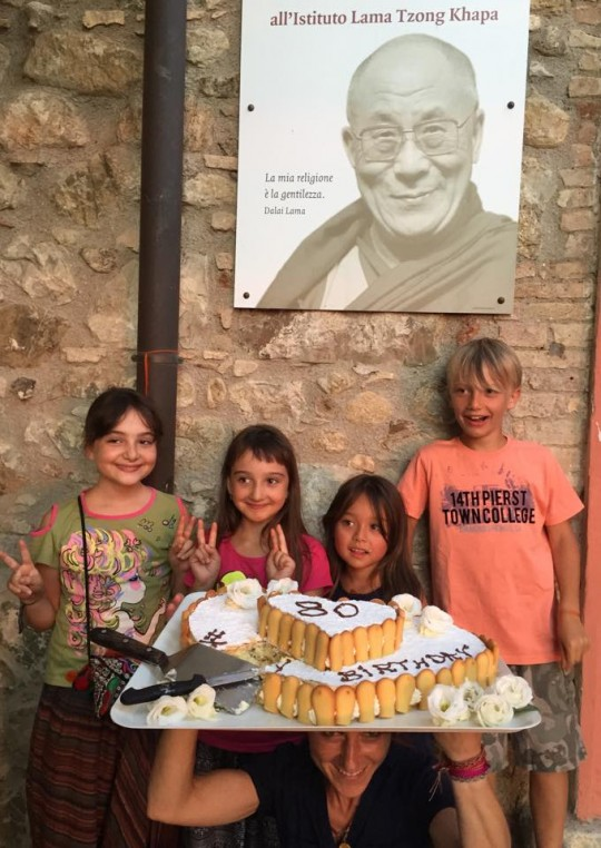 Celebrating His Holiness' birthday at Istituto Lama Tzong Khapa, Italy, July 2015. Photo courtesy of ILTK on Facebook.