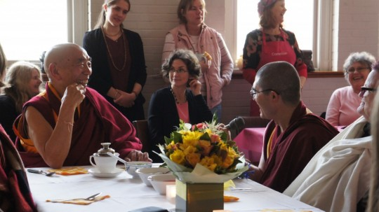 Geshe Doga with Tara Institute students at birthday luncheon, Australia, July 2015. Photo courtesy of Tara Institute.