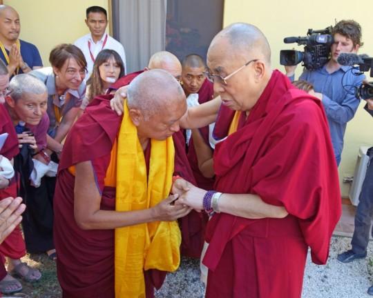 His Holiness the Dalai Lama and Lama Zopa Rinpoche at Istituto Lama Tzong Khapa, Italy, June 2014. Photo by Ven. Roger Kunsang.